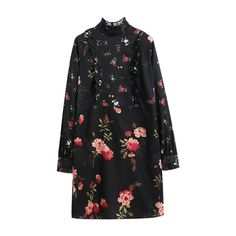 Ruffle Mock Neck Long Sleeve Floral Dress ($28) ❤ liked on Polyvore featuring dresses, frill dress, floral ruffle dress, long-sleeve floral dresses, frilly dresses and floral pattern dress