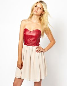 Rare Skater Dress With Leather Look Bodice