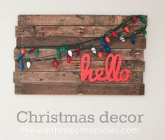 Pallet art + Christmas lights. Love it! #christmas