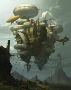 The Art Of Animation, Yongsub Noh - . Robots Steampunk, Steampunk Kunst, Steampunk Airship, Dieselpunk, Fantasy Places, Fantasy World, Zeppelin, Steampunk Illustration, Illustration Art