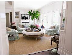 Windsor Smith's LA home: family room in neutrals and furniture in riad seafoam
