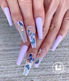 Purple Acrylic Nails, Acrylic Nails Coffin Short, Summer Acrylic Nails, Best Acrylic Nails, Acrylic Nail Art, Spring Nails, Blue Coffin Nails, Coffin Acrylics, Coffin Shape Nails
