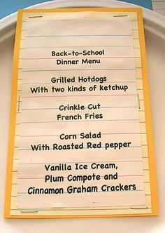 Back to school party menu- change up the hotdogs to something not toxic.