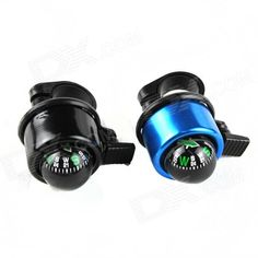 Bicycle Bell w/ Compass - Black   Blue (2 PCS) Price: $4.87