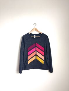 Geometric Sweatshirt Graphic Geo Chevron Sweatshirt Rainbow Stripe Long Sleeve Top Arrow Print Top Ombre Hand Embroidered Applique (85.00 USD) by Kulayan