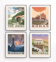 Set of 4 The Lord of the Rings poster. Tolkien wall art. Middle earth. The shire illustration. Retro travel poster. Mordor design. Rohan by TheSeventhArtShop on Etsy https://www.etsy.com/listing/509723872/set-of-4-the-lord-of-the-rings-poster