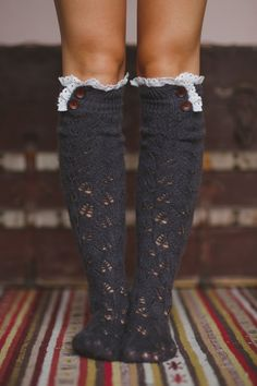 Lace Boot Socks, Knitted Socks for Boots, Lace Ruffle, Boot Topper with Sweater Knit, Crochet Lace Trim, and Wooden Buttons by ThreeBirdNest on Etsy