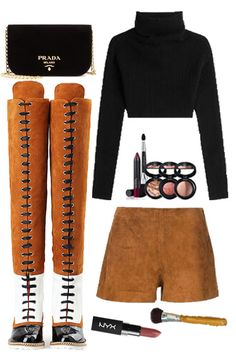 Fall Fashion Outfit-----Brown Lace Up Over The Knee Boots