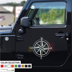 2x Gray compass decals/ stickers for Jeep Wrangler-doors