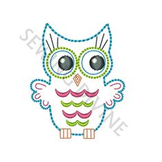 "OWL OUTLINE 2"" & 3"" Machine Embroidery Design / Felties Pattern Instant DOWNLOAD Mini"