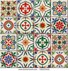 Gorgeous seamless pattern white colorful Moroccan Portuguese tiles Azulejo ornaments Can be used for Stock Vector Patchwork Patterns, Tile Patterns, Textures Patterns, Knitting Patterns, Moroccan Pattern, Moroccan Tiles, Tile Art, Mosaic Tiles, Tiling