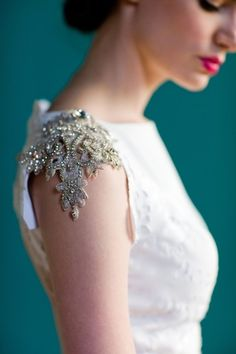 "Detail of the Pemberely wedding gown by ""Project Runway: Season Six"" finalist Carol Hannah Whitfield."