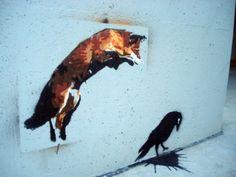 Banksy Raven and Fox