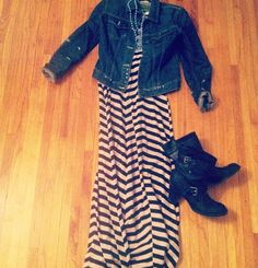 Wear a maxi dress with jean jacket and boots in the fall