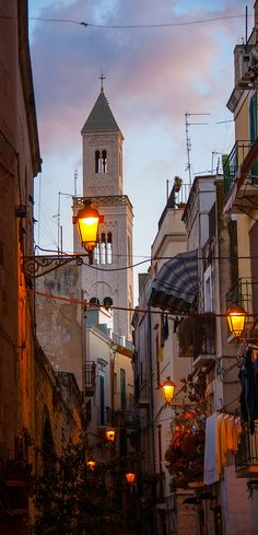 Great old city crowded architecture and street lighting