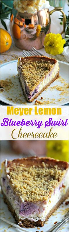 Summery Meyer Lemon Blueberry Cheesecake Recipe - Peas and Peonies