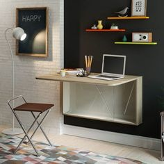Mesa Home Office, Home Office Desks, Small Room Desk, Space Saving Table, Smart Table, Mobile Home Makeovers, Convertible Furniture, Colorful Apartment, Folding Desk