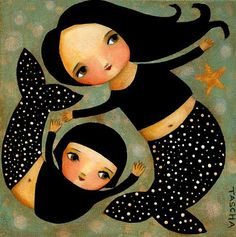 PRINT Mermaid Mama and Daughter cute print made from my folk art painting by tascha so could make something like this into a stuffed doll for my baby!!