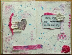 Beautiful textures & layers.  Interesting process described by Kiki Halbert on how she did these pages.  #art #journal