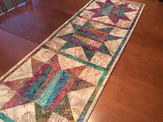 Batik table runner quilted traditional star table topper