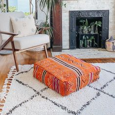 Handmade upcycled Moroccan floor cushion (also known as a 'pouf') made from vintage rugs. Floor cushions add a bohemian flair to any space, and can be used as floor seating, pet beds, ottomans, and more! See photo for slight imperfection. Moroccan Floor Cushions, Classic Living Room, Floor Seating, Bohemian Living, Pet Beds, Modern Boho, Ottomans, Vintage Rugs, Living Room Decor