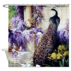 CafePress Bidau Peacock; Wisteria; Doves Shower Curtain - Standard White