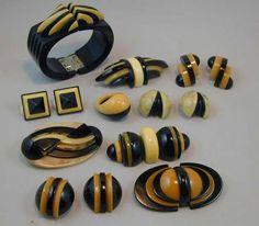 Authentic Bakelite Jewelry designed by Jorge Caicedo Montes de Oca . New York , NY.