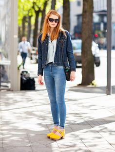 Break up your denim-on-denim ensemble with a pair of bright yellow heels. Polish off your look with black sunnies and a simple bobby pin secured at the side!  Show us how you style your bright acces