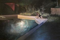 Daisy Clarke; Oil, 2013, Painting   the swimming pool