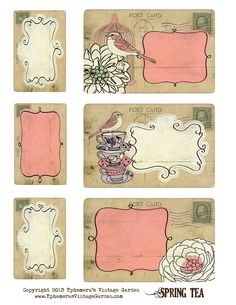 Ephemeras Vintage Garden: Free Printable - Spring Tea Postcard Tags
