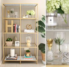 Transform a VITTSJÖ shelving unit into an elegant gold book shelf