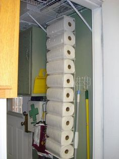 "DIY Paper Towel Storage : use a hanging shoe organizer! Pinner said, ""this will be perfect for the unused, angled corner in my pantry."""