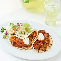 Tacos El Carbon. Made this last night, but forgot to marinade the meat first. That was a mistake, but otherwise it's a good recipe. Serve it with refried beans and mexican rice.