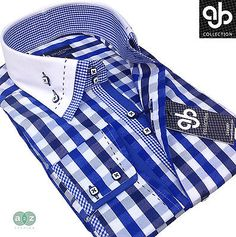 New Mens Smart Casual White with Blue Check Double Collar Italian Slim Fit Shirt