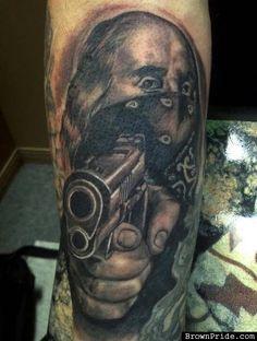Benjamin Franklin Gun Tattoo