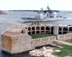 Fort Popham at Popham Beach State Park ~ Phippsburg, Maine with a Bath Iron Works-built ship passing by