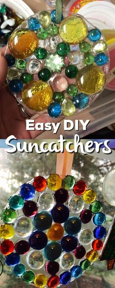 Easy DIY suncatchers- all you need is glue, a plastic lid and some gems! Instant gift!