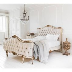 Palais Avenue Upholstered Bed from the French Bedroom collection of Ivory and Gold French Furniture. #Romance #FrenchBedroomCompany #frenchbeds #luxury