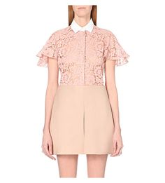 VALENTINO Contrast-Collar Floral-Lace Shirt. #valentino #cloth #tops