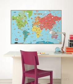 Kids World Map Wall Decal Sticker Wall Decal - at AllPosters.com.au