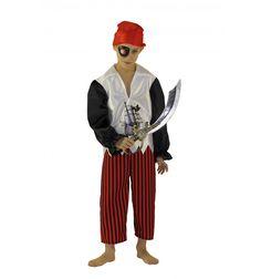 A l'abordage ! Part à la recherche du trésor... Déguisement PIRATE comprenant bandana, manteau, pantalon, cache-oeil, sabre . Déguisement fabriqué en FRANCE.. Présenté sous housse.  #lepanacheblanc
