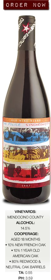 """The Police - Synchronicity Red Wine Blend - Quite literally, this wine represents and manifests the notion of """"Synchronicity"""" as it was interpreted by The Police with their classic album and this wine's namesake.    Simply put, """"to count as synchronicity, the events should be unlikely to occur together by chance"""".    http://www.winesthatrock.com/The-Wine/The-Police-s-Synchronicity"""