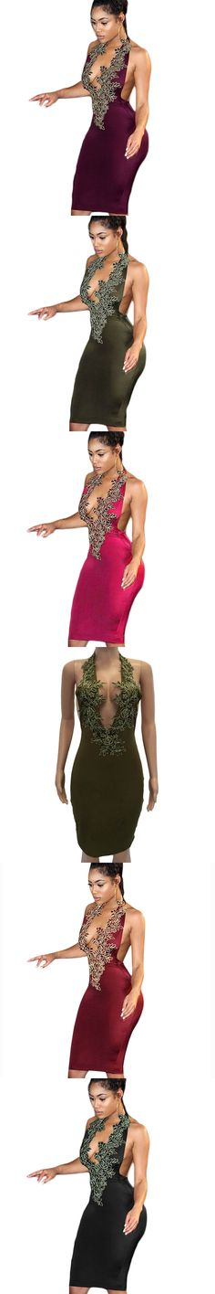 2017 Summer Flower Embroidery Sexy Dress Deep V Neck Backless Sheath Party Dresses Women Elegant Pencil Bodycon Dress Vestidos