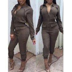 #trendsgal.com - #Trendsgal Solid Color Zippered Jumpsuit - AdoreWe.com