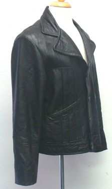 Black Vintage 70s Leather Jacket