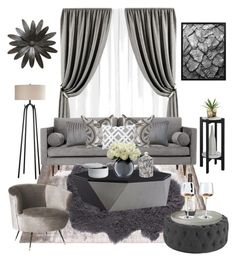 """""""50 Shades of GRAY..."""" by chanlattedesigns ❤ liked on Polyvore featuring interior, interiors, interior design, home, home decor, interior decorating, Joybird, Convenience Concepts, Safavieh and PBteen"""