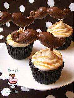 Cupcakes topped with Salted Caramel Buttercream and Chocolate Mustaches--for my friend D Caramel Buttercream Frosting, Buttercream Cupcakes, Baking Cupcakes, Cupcake Recipes, Cupcake Cakes, Cupcake Ideas, Mini Tortillas, Cake Pops, Just Desserts