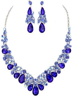 Vintage Style Silvertone Necklace with Earrings Accented with Royal Blue Crystals & Iridescent Blue Rhinestones