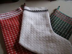 I woven the fabric for the fronts of these Christmas stockings in an  overshot pattern from Marguerite Davison's A Handweavers Pattern Book called Rose Valley.