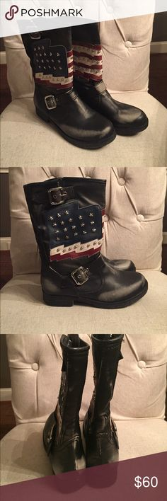 New USA size 7 rugged boots for ladies New in the box White Mountain brand USA flag boots. These are made to look rugged and distressed. They are Ladies Size 7. Comes in box and are new.  Looks great with shorts and jeans or skirts! White Mountain Shoes Heeled Boots